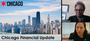 Image of Chicago's skyline, Mayor Lori Lightfoot, and Chief Financial Officer Jennie Huang Bennett